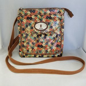 FOSSIL Floral Coated Canvas Crossbody Bag Purse